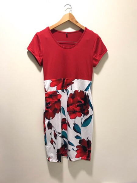 Used NEW Flowery stretchable Red Dress Size M in Dubai, UAE