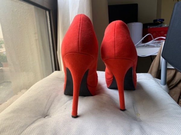 Used Red high heel shoes, 38 size in Dubai, UAE