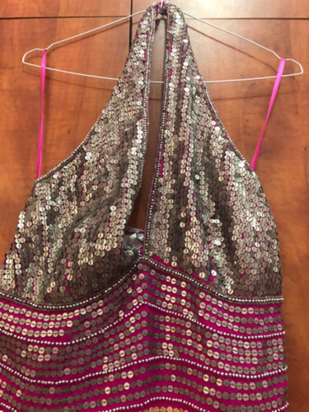 Pink and silver halter dress