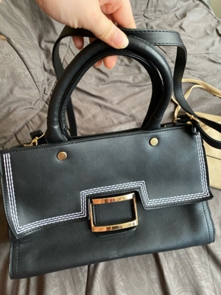 Used Black Leather Handbag (free sling bag) in Dubai, UAE
