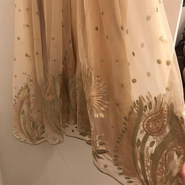 Brand New #Designer#Dress In #Gold#Beige & #Turqoise. Fabric Is High Quality Net & The Inner Is Gold Beige.