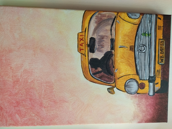 Used Painting- Iconic taxi of the city of joy in Dubai, UAE