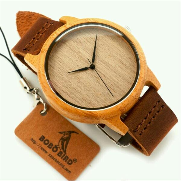 Used Bamboo Wooden Wristwatch With Genuine Leather band in Dubai, UAE