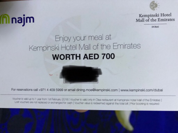 Used One more Kempinski meal voucher in Dubai, UAE