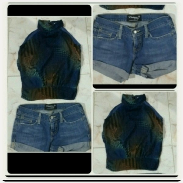 Used Top with denim short small size in Dubai, UAE