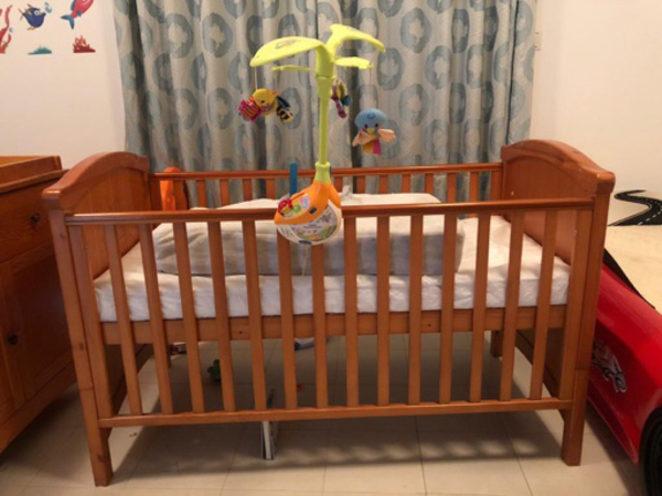 Used Baby Cot with cupboard Changing table  in Dubai, UAE