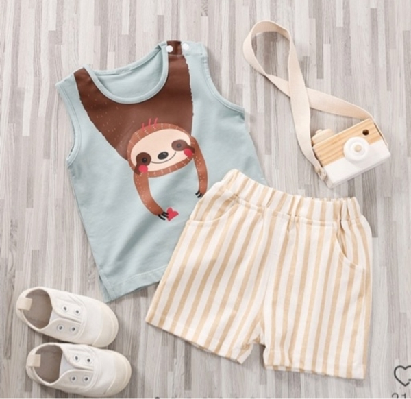 Used Toddler Print Tank and Striped short set in Dubai, UAE
