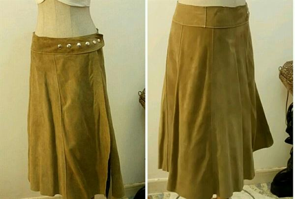 Used Authentic Leather Skirt Biege Color Small To Medium Size Very Nice Fitting  in Dubai, UAE