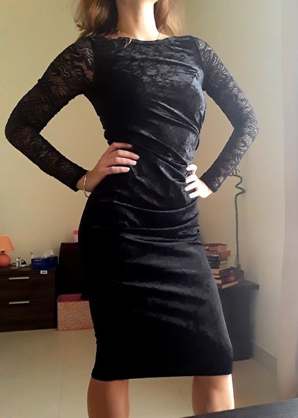 Used Amazing velvet dress with lace sleeves in Dubai, UAE