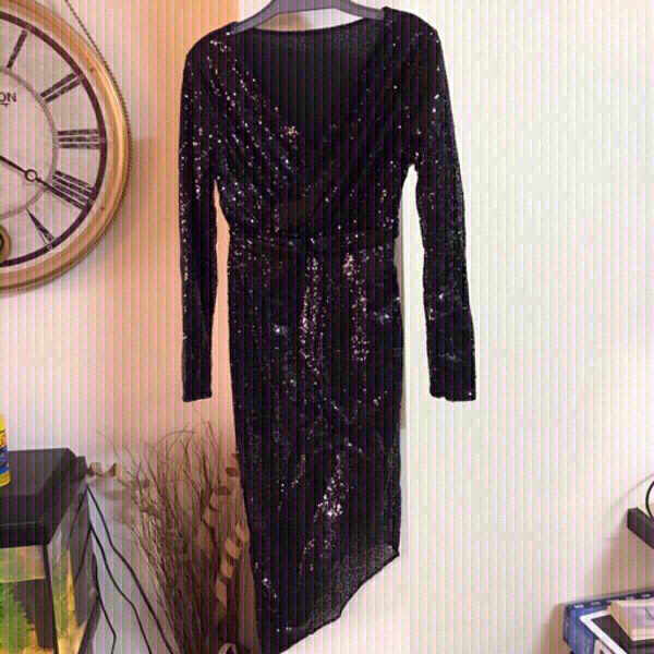 Used V -neck shiny black dress 👗 size small in Dubai, UAE