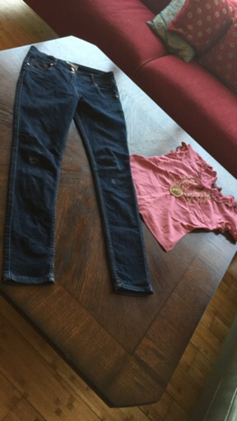 Used Skinny fit girls high waist jeans & top in Dubai, UAE