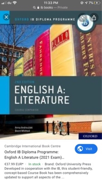 Used IB ENGLISH:A LITERATURE BOOK in Dubai, UAE