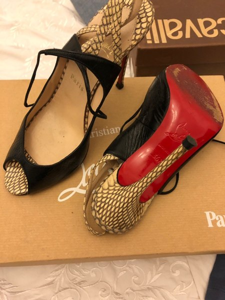 Used Christian Louboutin snakeskin open toe in Dubai, UAE