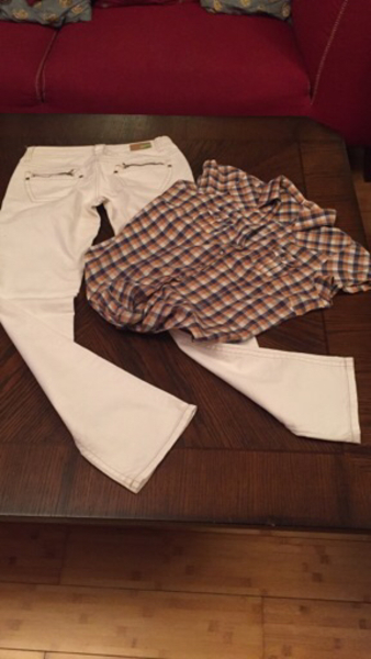 "Used Girls low waist jeans 28""& cotton shirt in Dubai, UAE"