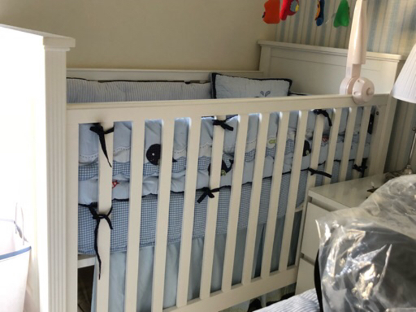 Used Pottery barn bedding( crib nt included) in Dubai, UAE