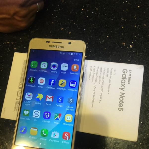 Used Samsung Note 5 4g 64gb Gold Color First copy Vietnam 6month Varenty in Dubai, UAE