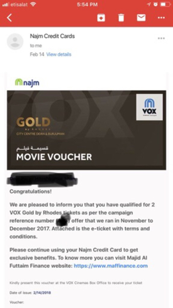 Used 6 tickets of VOX gold, read detail in Dubai, UAE