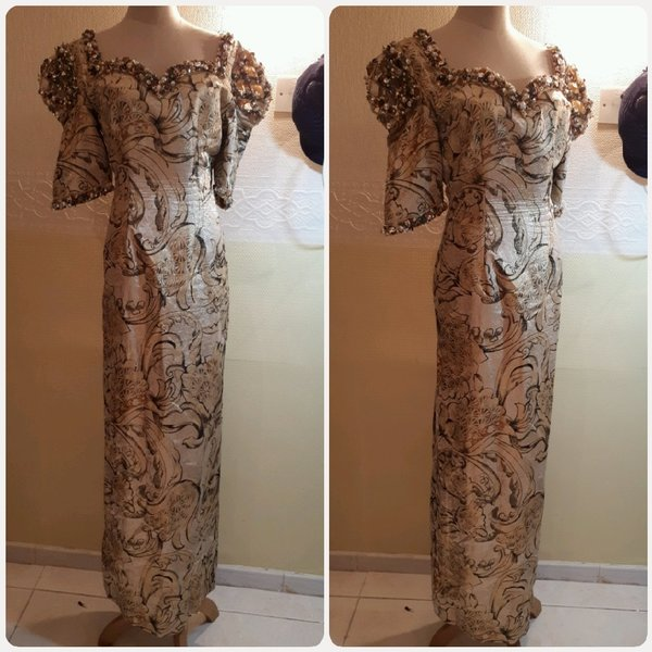 Used Long dress biege golden elegant in Dubai, UAE