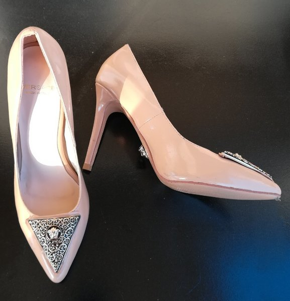 Used Versace Shoes 38 size and one Brown Bag in Dubai, UAE