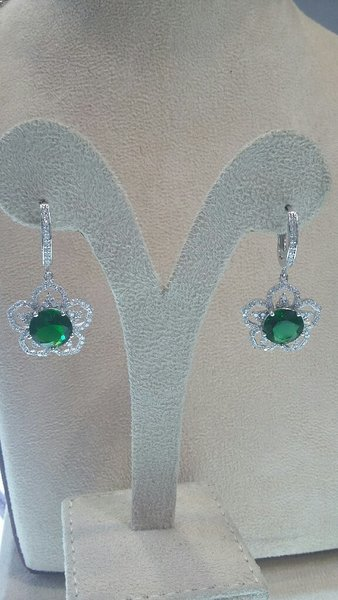 Used Italian silver pendent set green colour in Dubai, UAE
