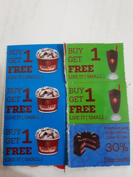 Used 8 vouchers cold stone unwanted in Dubai, UAE