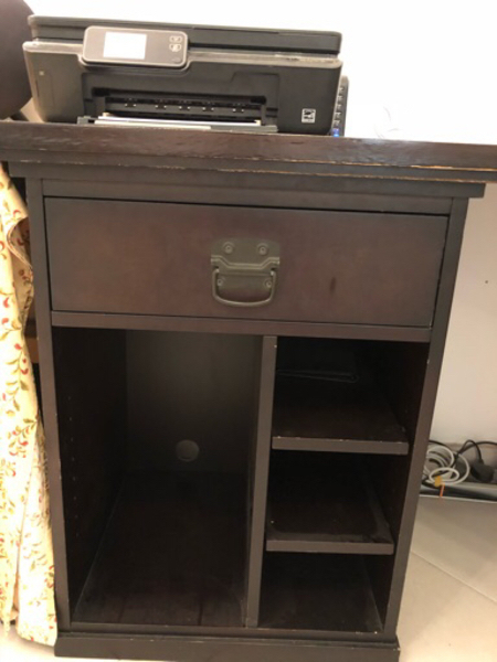 Dark wood pottery barn office desk