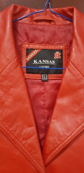 Used Real lether red jacket made in Pakistan in Dubai, UAE