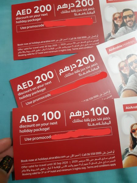 Used Air Arabia voucher in Dubai, UAE