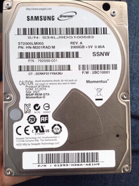 Used Samsung 2000 GB SATA HDD for Laptop in Dubai, UAE