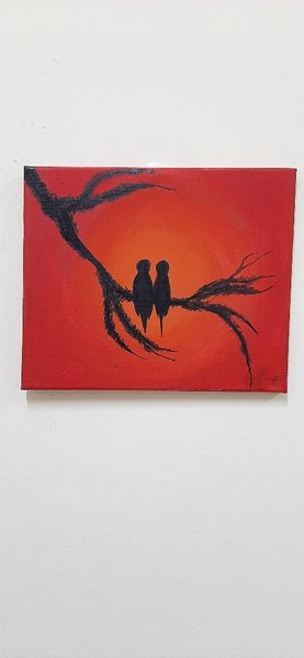 Used Painting - 2 birds on a branch in Dubai, UAE