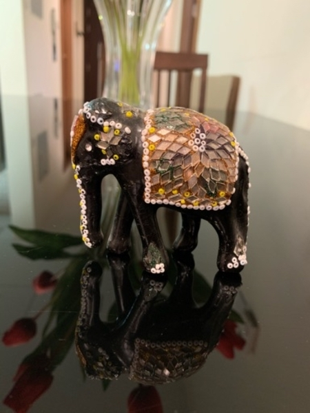 Used Wooden Decorated Elephant - Black in Dubai, UAE