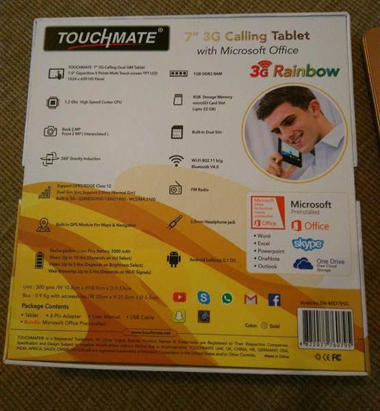 """Brand New Touchmate 7"""" 3g Calling Tablet With Microsoft Office Pre Installed"""