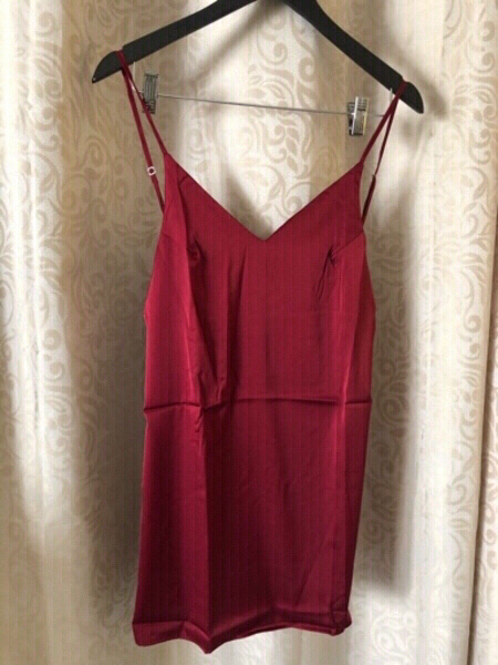 Used Nightgrown dark red silky look dress L in Dubai, UAE