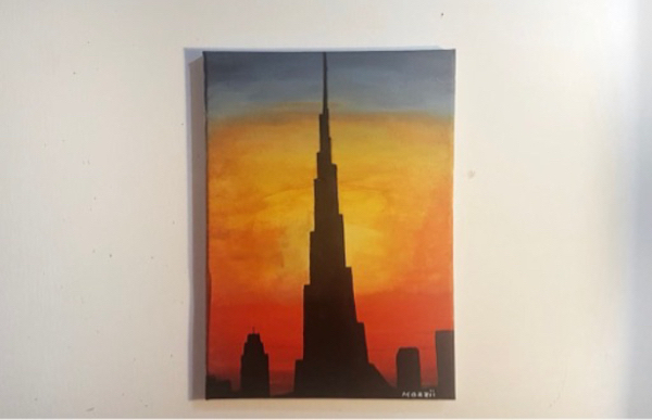 "Used ""BurjKhalifa on Sunset"" Acrylic Painting in Dubai, UAE"