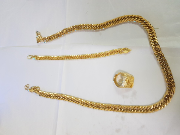 Used Mans  dragon gold jewelry sets 3pcs 6886 in Dubai, UAE