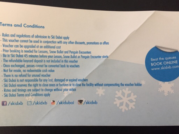 Used 2 complementary polar vouchers in Dubai, UAE
