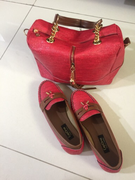 Used new luxuary red shoes and handbag set in Dubai, UAE