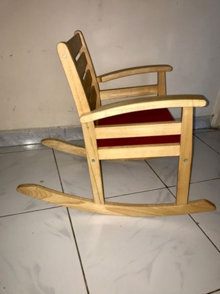 Used IKEA natural wood kids rocking chair in Dubai, UAE
