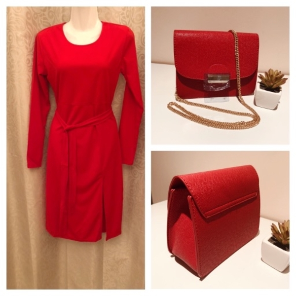 Used Red bundle dress size S & small Bag in Dubai, UAE