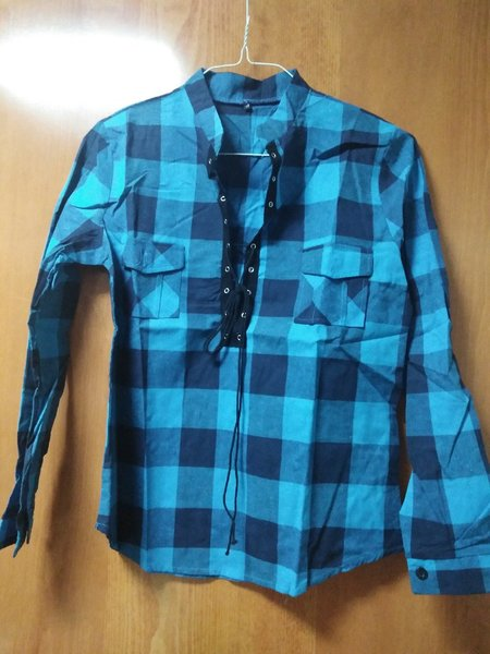 Used Blouse and Shirts, checkered Blue in Dubai, UAE