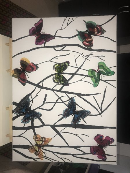 Used Canvas hand painting with 3D butterflies in Dubai, UAE