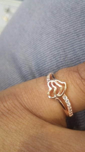 Used Silver with Rose gold plated Ladies Ring in Dubai, UAE