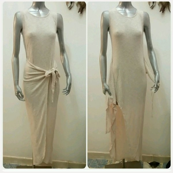 Used Long dress biege with slit in front in Dubai, UAE