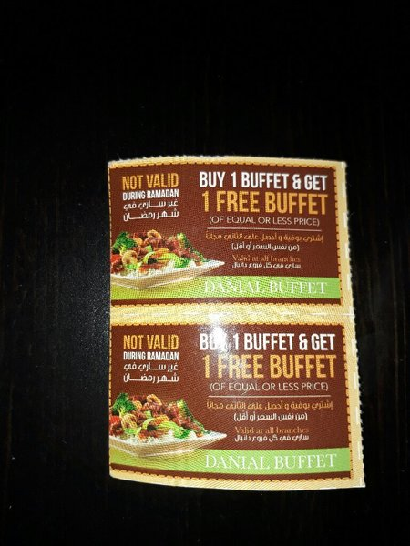 Used Danial Buffet Coupons available 2 pcs. in Dubai, UAE