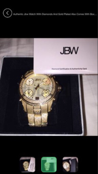 Used JBW watch 234 diamonds and golden plated in Dubai, UAE