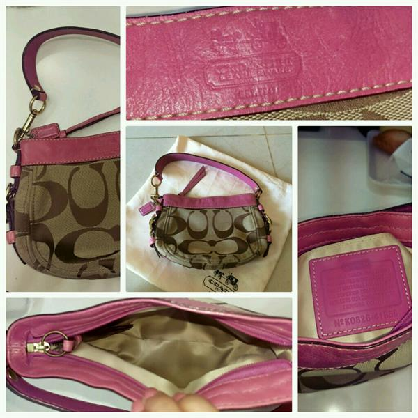 40c589271972 Used Authentic Coach mini hobo bag. Vintage coach bag with pink leather  interior. Preloved