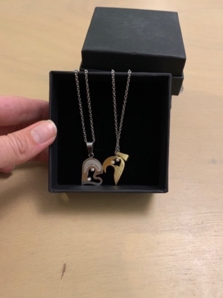 Used Silver and gold I love you necklace -2 in Dubai, UAE