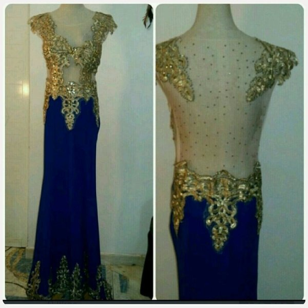 Used Evening long dress golden with blue comb in Dubai, UAE