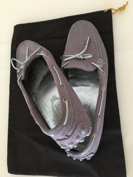 Used Tod's Lavender Suede Bow Loafers size 40 in Dubai, UAE