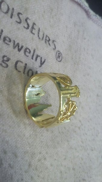 Used Silver with Gold plated cityscape Ring in Dubai, UAE